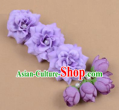 Chinese Ancient Peking Opera Purple Flowers Hair Accessories, Traditional Chinese Beijing Opera Props Head Ornaments Hua Tan Flocking Headwear Hairpins