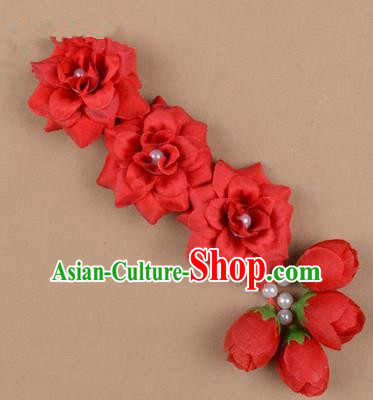 Chinese Ancient Peking Opera Red Flowers Hair Accessories, Traditional Chinese Beijing Opera Props Head Ornaments Hua Tan Flocking Headwear Hairpins