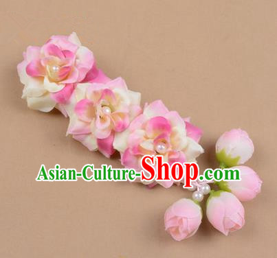 Chinese Ancient Peking Opera Pink Flowers Hair Accessories, Traditional Chinese Beijing Opera Props Head Ornaments Hua Tan Flocking Headwear Hairpins