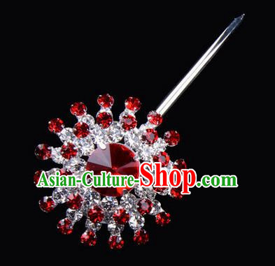 Chinese Ancient Peking Opera Pink Flowers Hair Accessories Headwear, Traditional Chinese Beijing Opera Props Head Ornaments Hua Tan Red Crystal Hairpins