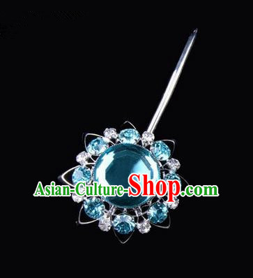 Chinese Ancient Peking Opera Pink Flowers Hair Accessories Headwear, Traditional Chinese Beijing Opera Props Head Ornaments Hua Tan Blue Crystal Bulb Hairpins