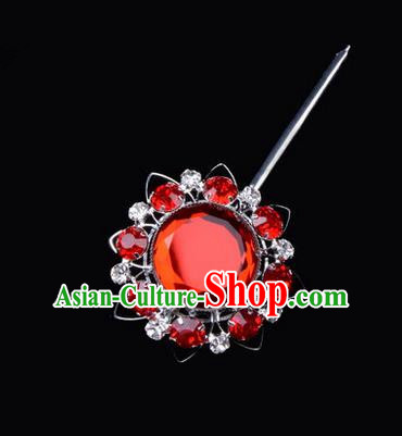 Chinese Ancient Peking Opera Pink Flowers Hair Accessories Headwear, Traditional Chinese Beijing Opera Head Ornaments Hua Tan White Red Crystal Bulb Hairpins