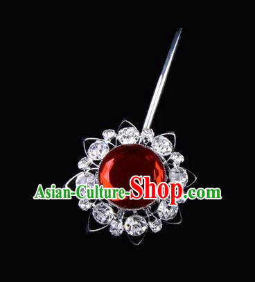 Chinese Ancient Peking Opera Pink Flowers Hair Accessories Headwear, Traditional Chinese Beijing Opera Props Head Ornaments Hua Tan Red Crystal Bulb Hairpins