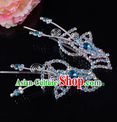 Chinese Ancient Peking Opera Hair Accessories Young Lady Headwear, Traditional Chinese Beijing Opera Head Ornaments Hua Tan Butterfly Blue Crystal Hairpins
