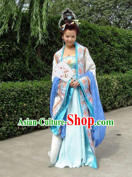 Traditional Chinese Tang Dynasty Imperial Consort Costumes and Handmade Headpiece, China Ancient Senior Concubine Dress Hanfu Dance Clothing Complete Set