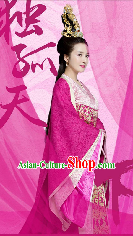 Traditional Chinese Han Dynasty Princess Costumes and Headpiece Complete Set, China Ancient Imperial Consort Dress Hanfu Clothing for Women
