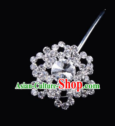 Chinese Ancient Peking Opera Pink Flowers Hair Accessories Headwear, Traditional Chinese Beijing Opera Head Ornaments Hua Tan White Hexagonal Crystal Bulb Hairpins
