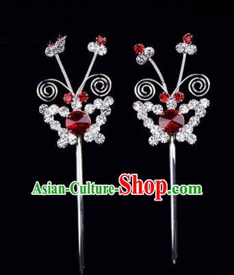 Chinese Ancient Peking Opera Pink Flowers Hair Accessories Headwear, Traditional Chinese Beijing Opera Head Ornaments Hua Tan Red Butterfly Crystal Hairpins