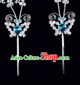 Chinese Ancient Peking Opera Pink Flowers Hair Accessories Headwear, Traditional Chinese Beijing Opera Head Ornaments Hua Tan Blue Butterfly Crystal Hairpins