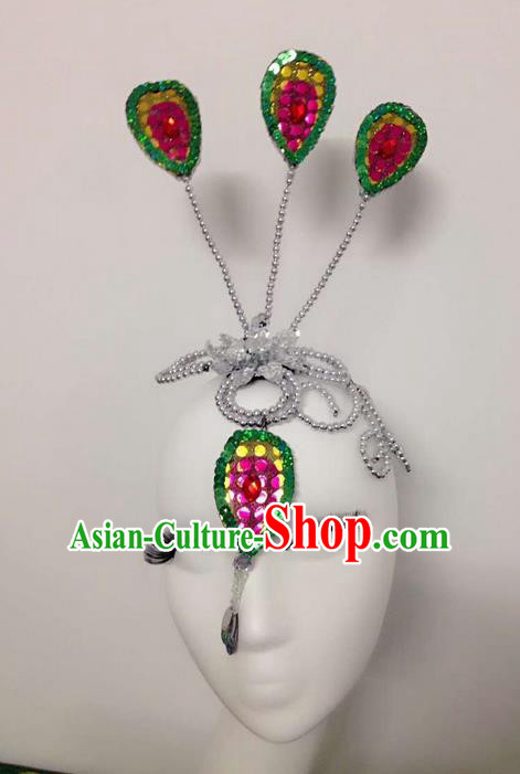 Traditional Chinese Dai Nationality Hair Accessories, Female Folk Dance Peacock Dance Forehead Ornament Headwear for Women