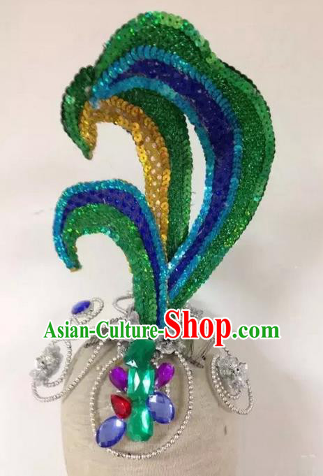 Traditional China Dai Nationality Hair Accessories, Chinese Female Folk Dance Peacock Dance Forehead Ornament Headwear for Women