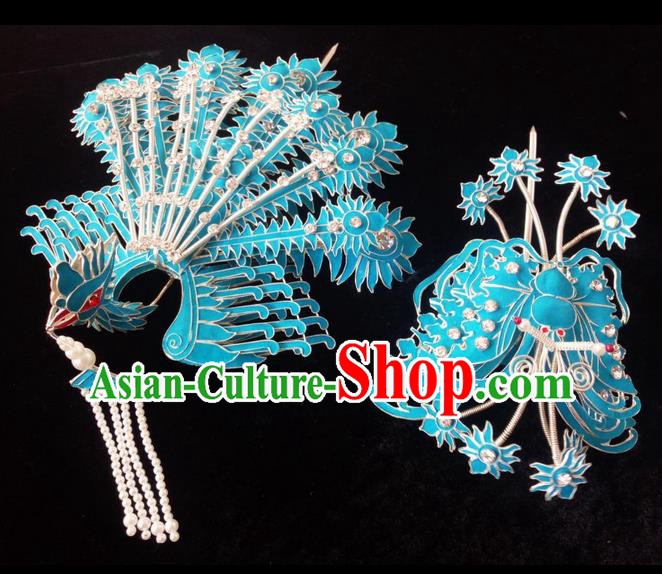 Traditional Chinese Peking Opera Handmade Hair Accessories, China Beijing Opera Imperial Consort Headwear High-grade Bride Head Ornaments Complete Set for Women