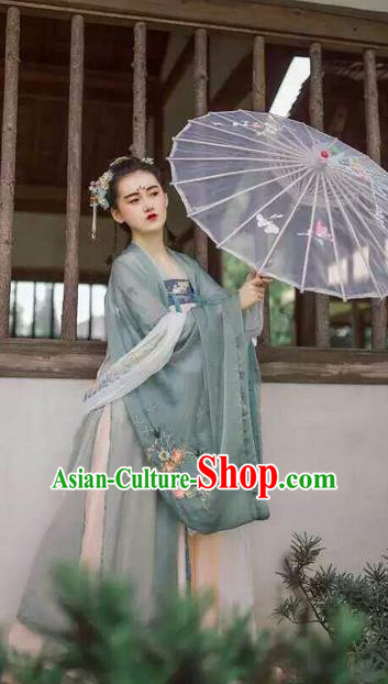 Traditional Chinese Ancient Female Costumes, China Hanfu Wide-sleeve Embroidered Cardigan Blouse and Dress Complete Set, China Tang Dynasty Wearing for Women