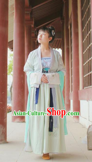 Traditional Chinese Ancient Female Costumes, China Hanfu Embroidered Cardigan Blouse and Dress Complete Set, China Jin Dynasty Wearing for Women