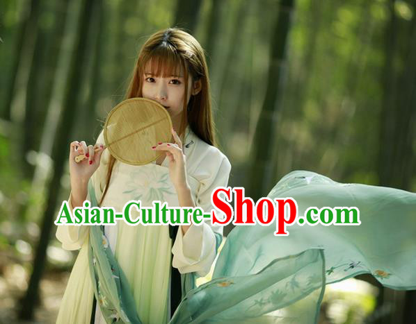 Traditional Chinese Ancient Tang Dynasty Princess Costumes, China Hanfu Embroidered Green Blouse and Ru Skirt Complete Set for Women