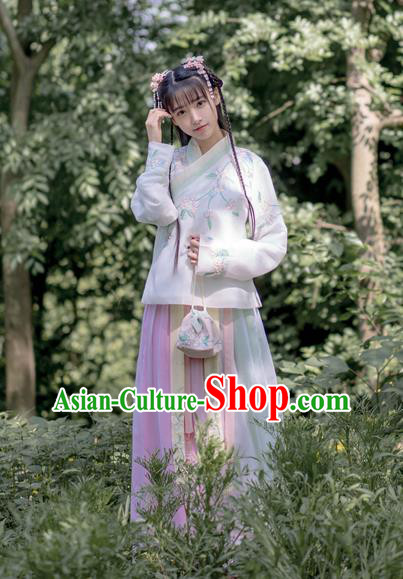 Traditional Chinese Ancient Ming Dynasty Young Lady Costumes, China Princess Hanfu Embroidered Slant Opening Blouse and Ru Skirt Complete Set for Women