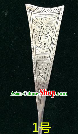 Traditional Chinese Ancient Classical Miao Silver Handmade Hair Accessories Hairpin for Women
