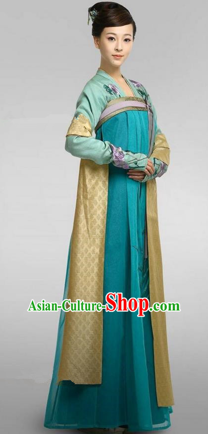 Chinese Ancient Tang Dynasty Aristocratic Miss Female Officials Costume, Traditional Chinese Ancient Imperial Princess Dress Clothing and Headpiece Complete Set for Women