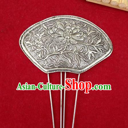 Traditional Handmade Chinese Ancient Classical Hair Accessories Barrettes China Miao Nationality Sliver Sector Hairpins Phoenix Step Shake Hair Sticks for Women