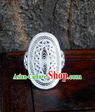 Traditional Handmade Chinese Miao Nationality Ancient Classical Rings Accessories Hmong Sliver Finger Ring for Women