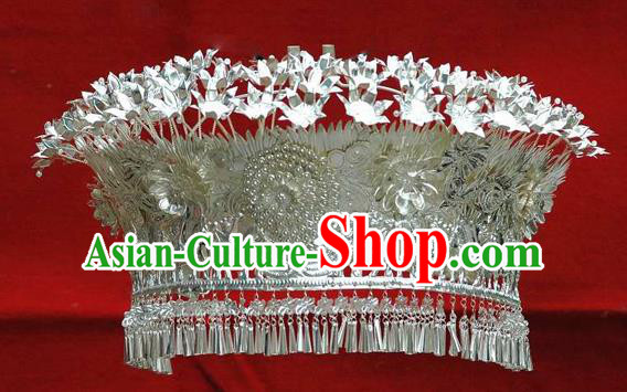Traditional Handmade Chinese Ancient Classical Accessories Miao Nationality Miao Sliver Hair Accessories Hmong Princess Headwear Hat for Women