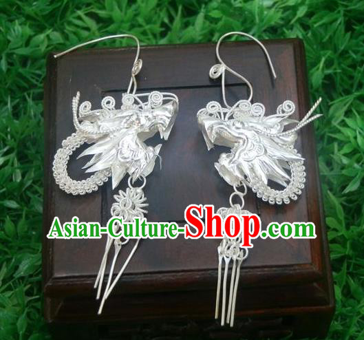 Traditional Handmade Chinese Miao Nationality Ancient Classical Dragon Head Earrings Accessories Pure Sliver Eardrop for Women