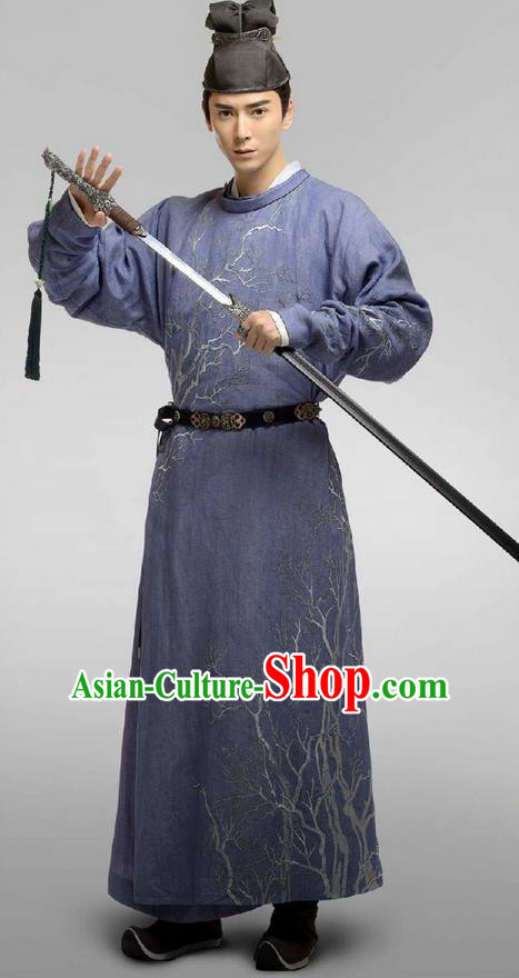 Chinese Ancient Tang Dynasty Prince Costume and Headpiece Complete Set, Traditional Chinese Ancient Nobility Childe Swordsman Embroidered Clothing for Men