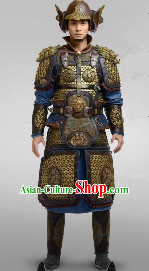 Chinese Ancient Tang Dynasty General Armour Costume and Headwear Complete Set, Traditional Chinese Ancient Warrior Swordsman Helmet Clothing for Men