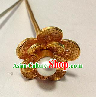 Traditional Handmade Chinese Ancient Classical Hair Accessories Barrettes Golden Wintersweet Hairpins, Pure Sliver Tassel Step Shake Hair Sticks for Women