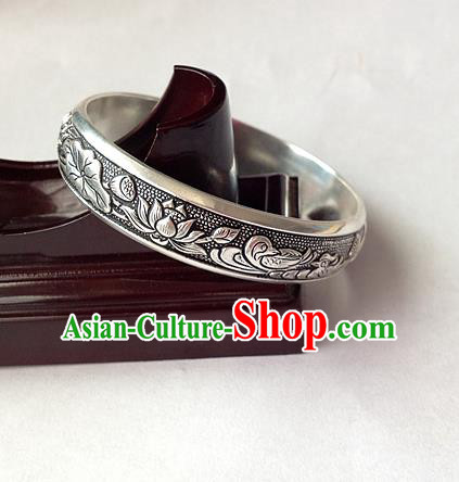 Traditional Chinese Miao Nationality Accessories Bracelet, Hmong Female Ethnic Pure Sliver Lotus Bangle for Women