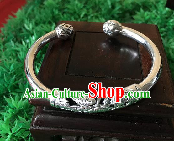 Traditional Chinese Miao Nationality Accessories Bracelet, Hmong Female Ethnic Pure Sliver Fish Bangle for Women