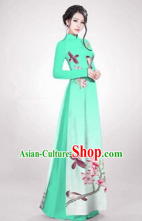 Top Grade Asian Vietnamese Traditional Dress, Vietnam Ao Dai Dress Fluorescence Green Cheongsam Clothing for Women