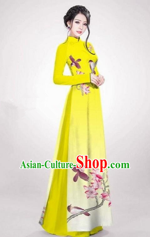 Top Grade Asian Vietnamese Traditional Dress, Vietnam Ao Dai Dress Yellow Cheongsam Clothing for Women