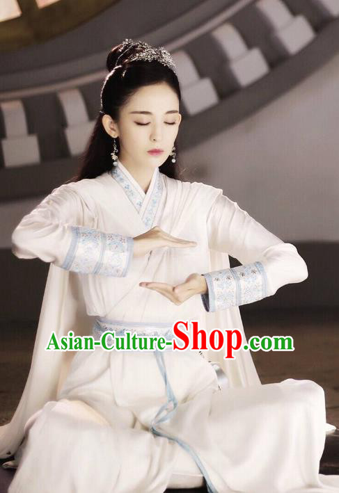 Chinese Ancient Tang Dynasty Imperial Princess Costume and Headwear, Fighter of the Destiny Traditional Chinese Ancient Peri Saintess Clothing Complete Set