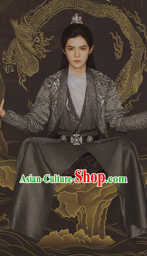 Chinese Ancient Tang Dynasty Swordsman Costume and Headpiece Complete Set, Fighter of the Destiny Traditional Chinese Ancient Kawaler Kung fu Master Clothing for Men