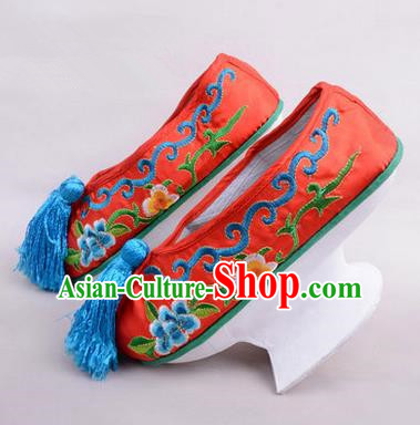 Chinese Ancient Peking Opera Young Lady Embroidered Hua Tan Shoes, Traditional China Qing Dynasty Manchu Princess Beijing Opera Red Embroidered Shoes Saucers