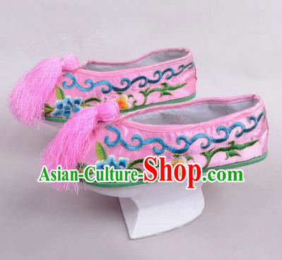 Chinese Ancient Peking Opera Young Lady Embroidered Hua Tan Shoes, Traditional China Qing Dynasty Manchu Princess Beijing Opera Pink Embroidered Shoes Saucers