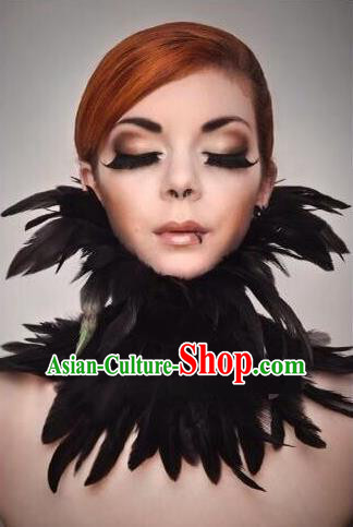 Top Grade Professional Stage Show Halloween Feather Collar, Brazilian Rio Carnival Samba Opening Dance Necklace for Women