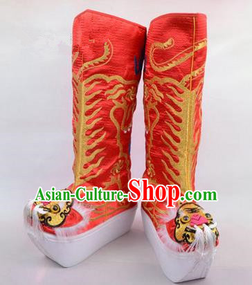 Chinese Ancient Peking Opera King Embroidered High Leg Boots, Traditional China Beijing Opera Emperor Red Embroidered Tiger-head High Sole Shoes