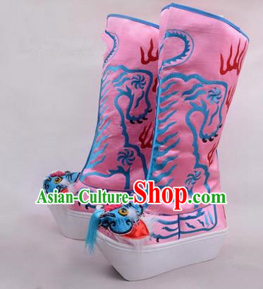Chinese Ancient Peking Opera King Embroidered High Leg Boots, Traditional China Beijing Opera Emperor Pink Embroidered Tiger-head High Sole Shoes