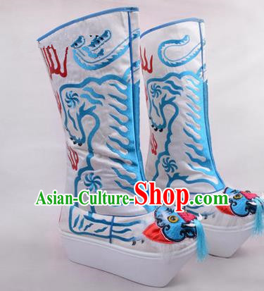 Chinese Ancient Peking Opera King Embroidered High Leg Boots, Traditional China Beijing Opera Emperor White Embroidered Tiger-head High Sole Shoes