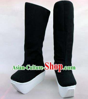 Chinese Ancient Peking Opera Officer Embroidered High Leg Boots, Traditional China Beijing Opera Embroidered High Sole Shoes