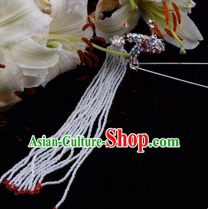 Chinese Ancient Peking Opera Hair Accessories Young Lady Diva Red Long Tassel Phoenix Hairpins, Traditional Chinese Beijing Opera Hua Tan Colorful Crystal Head Ornaments
