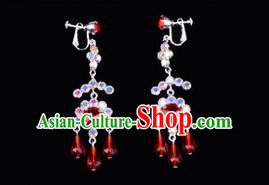 Chinese Ancient Peking Opera Head Accessories Young Lady Diva Colorful Crystal Red Earring, Traditional Chinese Beijing Opera Hua Tan Eardrop