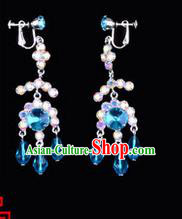 Chinese Ancient Peking Opera Head Accessories Young Lady Diva Colorful Crystal Blue Earring, Traditional Chinese Beijing Opera Hua Tan Eardrop