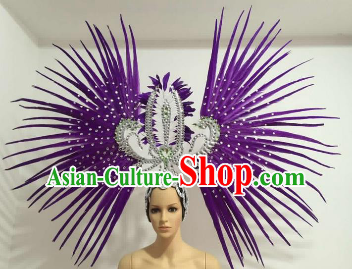 Top Grade Professional Stage Show Giant Headpiece Parade Hair Accessories Decorations, Brazilian Rio Carnival Samba Opening Dance Purple Feather Headdress for Women