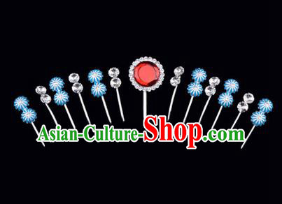 Chinese Ancient Peking Opera Hair Accessories Young Lady Headwear Complete Set, Traditional Chinese Beijing Opera Head Ornaments Hua Tan Red Crystal Hairpins