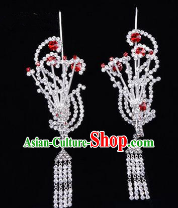 Chinese Ancient Peking Opera Hair Accessories Young Lady Diva Tassel Phoenix Headwear, Traditional Chinese Beijing Opera Head Ornaments Hua Tan Red Crystal Hairpins