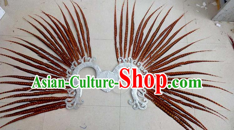 Top Grade Professional Stage Show Halloween Props Decorations, Brazilian Rio Carnival Parade Samba Dance Orange Feather Catwalks Backplane for Women