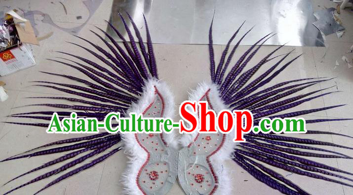 Top Grade Professional Stage Show Halloween Props Decorations Wings, Brazilian Rio Carnival Parade Samba Dance Purple Long Feather Catwalks Backplane for Women